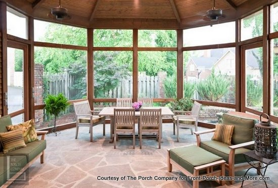 One of The Porch Company's beautiful custom screen porches showing fans on the ceiling