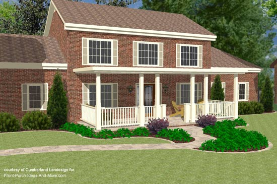 Two Story Home With Flat Roof Over Front Porch