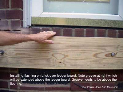 installing ledger board on brick for front porch & Porch Floor Height Issue