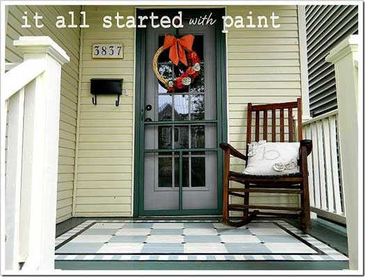using porch floor paint to create a painted rug and numbered steps