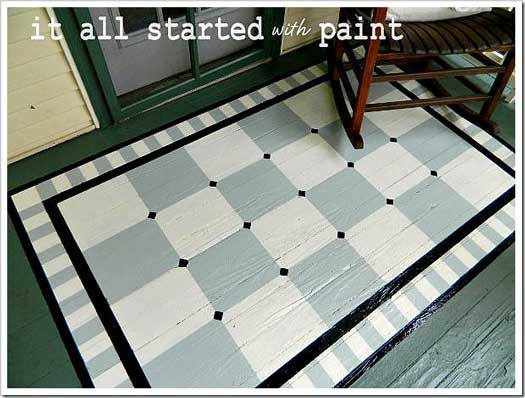 Use Porch Floor Paint To Create A Painted Rug And Numbered Steps