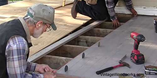 Recommend using roofing tin cap disks as spacers when installing your floor