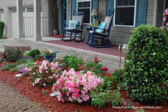 front view of new front porch landscaping