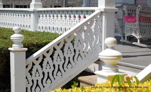 colorful Victorian style porch turned railings