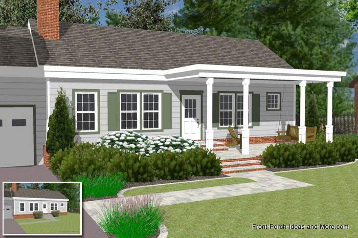 Front Porch Design Ideas front porch design and deck pictures i like the look of the skirt so Front Porch With Pergola Style Roof