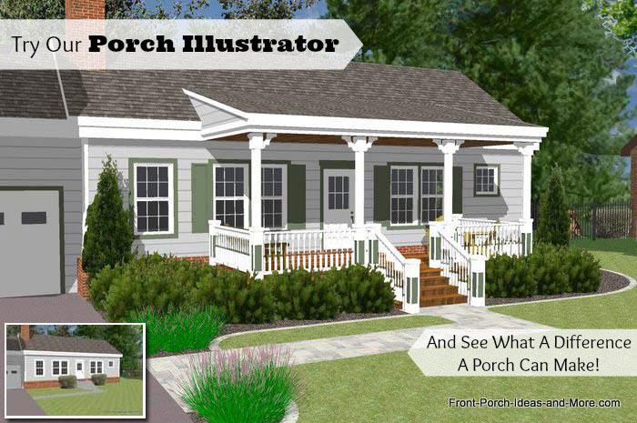 Great front porch designs illustrator on a basic ranch Front porch blueprints