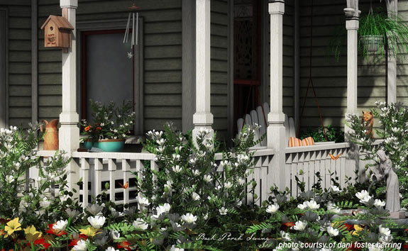 beautiful porch with summer flowers and birdhouse on column