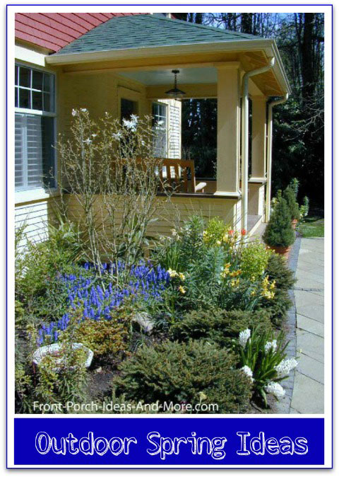 front porch with spring time landscaping