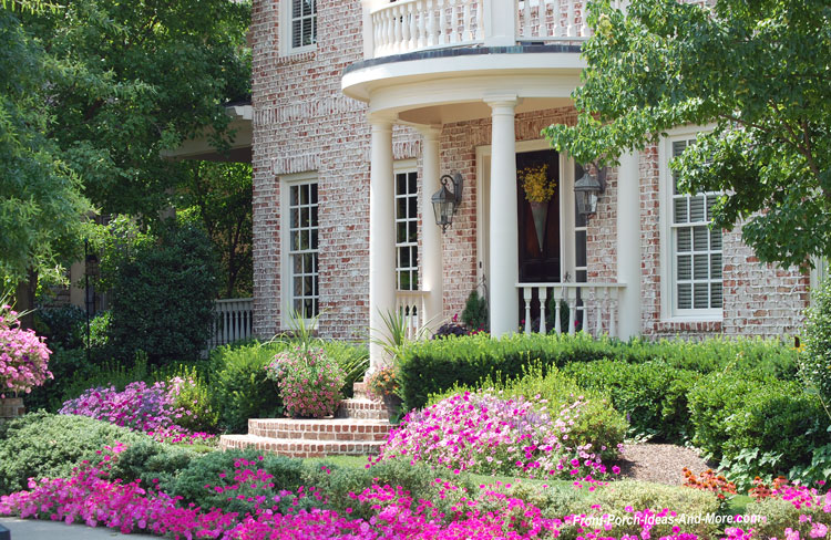 colorful front porch landscaping
