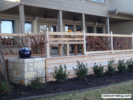 mountain laurel porch railings with built in bench