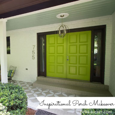 lovely front porch with diamond patterned outdoor rug
