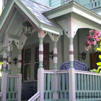 beautifully painted Victorian porch