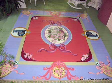 Rug pattern painted wood floor
