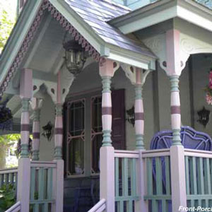 Victorian porch painted in beautiful colors