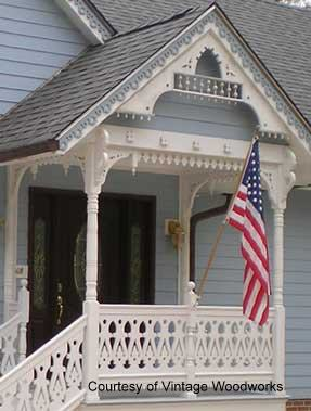 porch posts with American flag