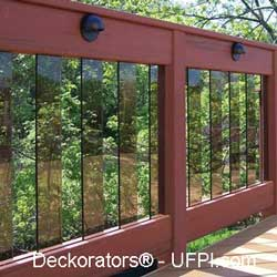 darkened rectangular glass balusters