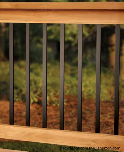 Aluminum porch railing aluminum deck railing deck for Garden decking banister