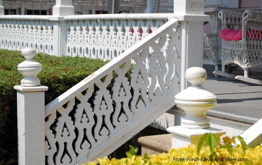 white balusters on front porch and porch stairs
