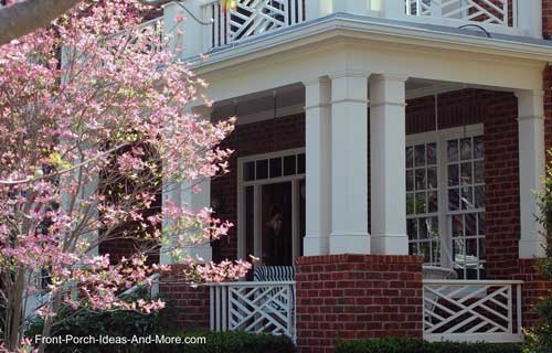 Front porch with herringbone baluster pattern and triple columns