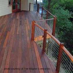 steel cable railings on ipe deck