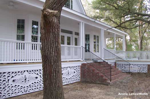 white porch skirting with nautical theme and submarine emblem