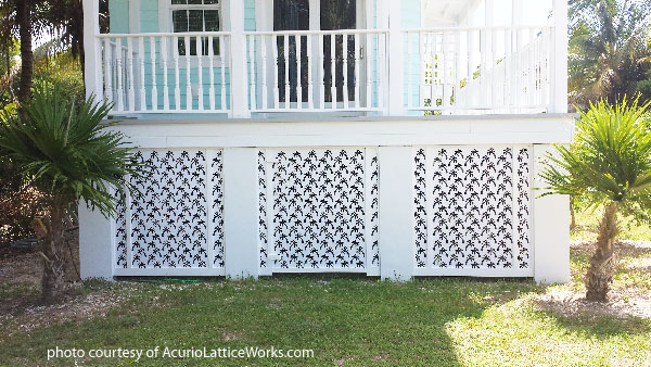 palm pattern on vinyl lattice porch skirting by acurio lattice works