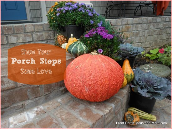 Porch steps decorated for autumn