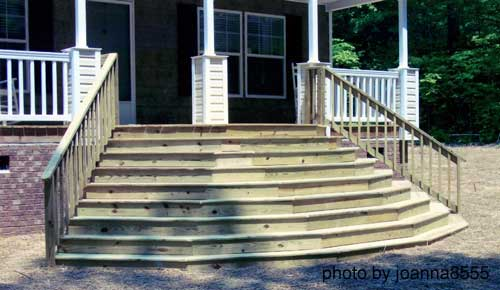 colorful front porch steps on decorated front porch