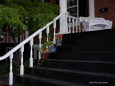 porch steps -painted black