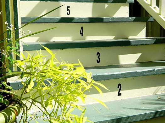 Numbered porch steps - close up