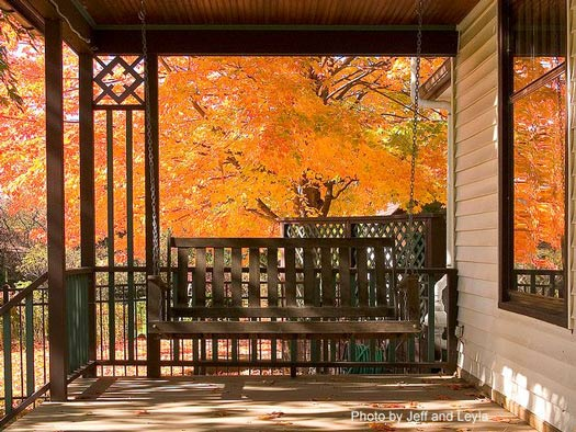 Porch swings front porch swing Beautiful fall front porches