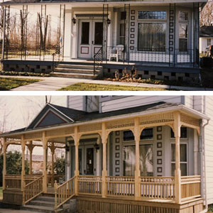 before and after porch with trim ideas
