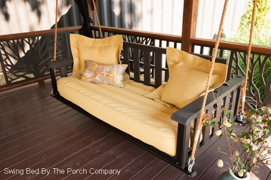porch swing bed on screened porch
