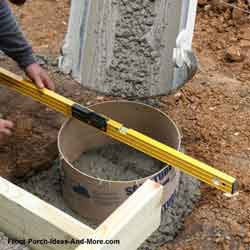 pouring concrete piers for front porch foundation