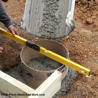 pouring concrete in sonotubes