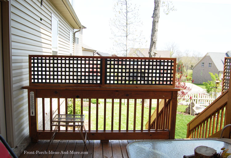 lattice top fence for privacy on back deck