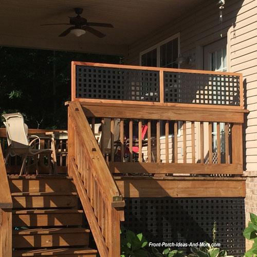 black vinyl lattice privacy panel on back porch