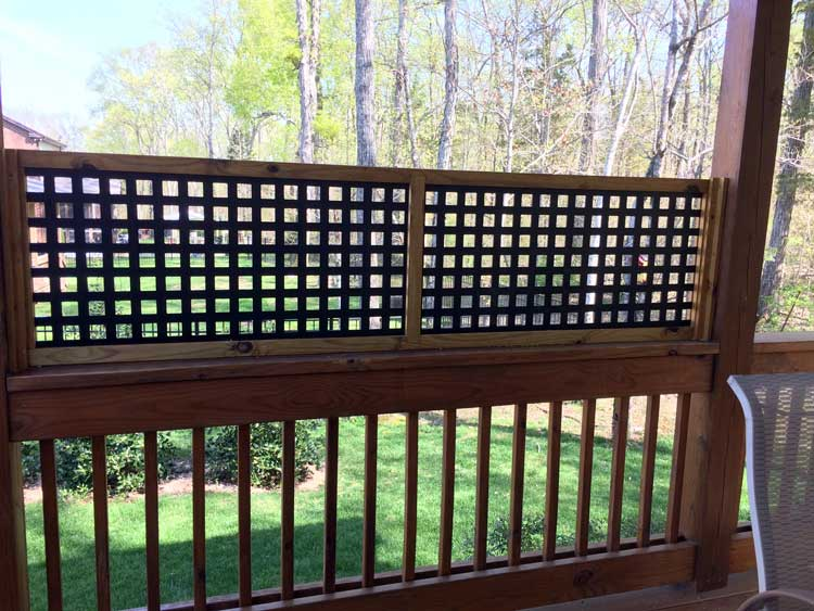 lattice privacy panel on back porch provides ambiance as well as filtered privacy