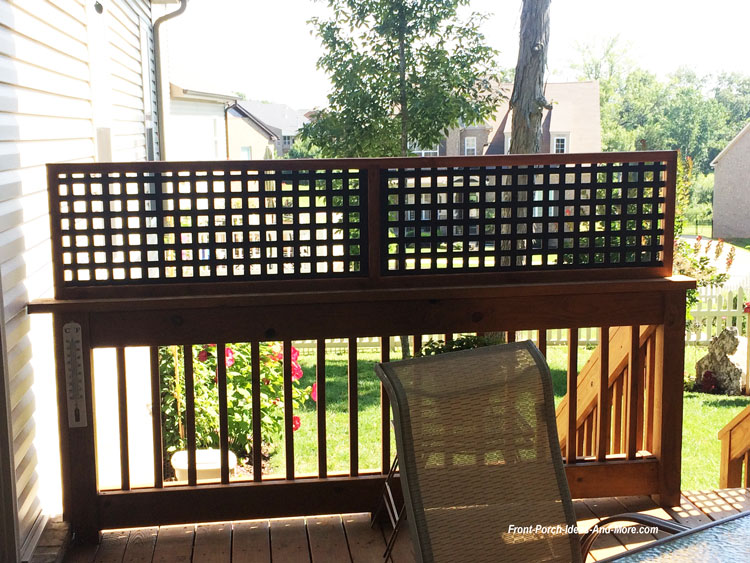 vinyl lattice privacy panel on back porch