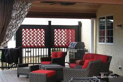 red lattice privacy panel on porch