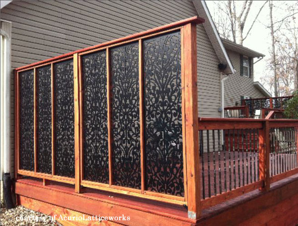 black vinyl privacy screen on back deck