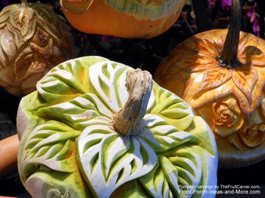 cabbage leaf carved pumpkin