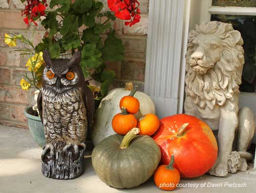 pumpkins mixed with sculptures on front porch