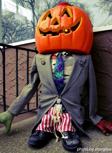 dressed up pumpkin business man
