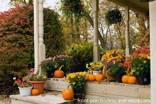 beautifully decorated farmhouse porch for fall