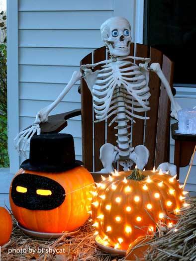 pumpkins and skeletons