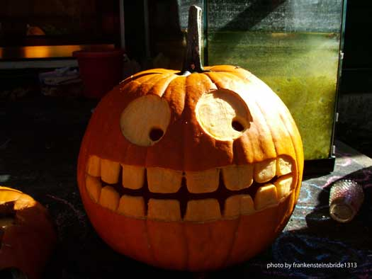 uniquely carved pumpkin