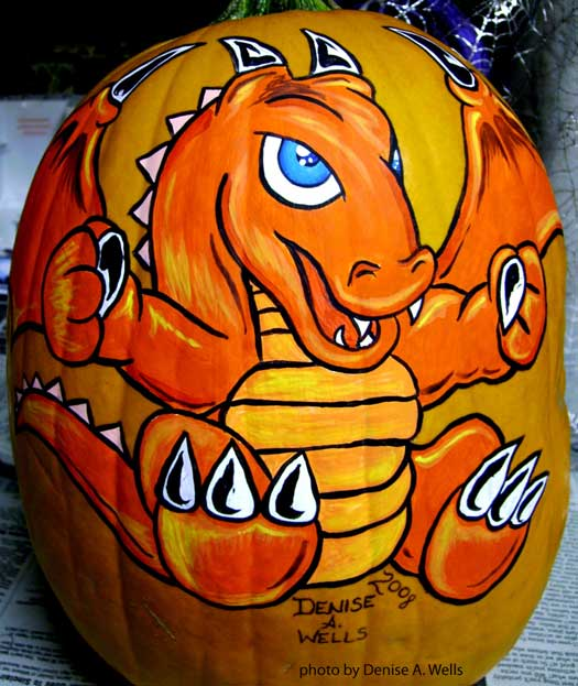 painted dragon pumpkin decoration