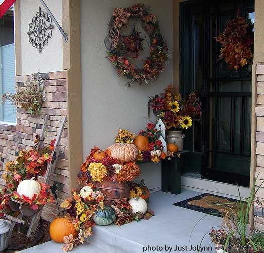beautiful pumpkin display on front porch