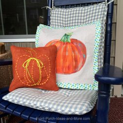 burlap and painted pumpkin pillows for the fall porch